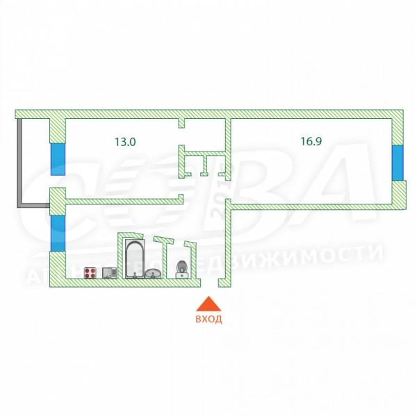 2 комнатная квартира  в районе Дом Обороны, ул. Комбинатская, 38, г. Тюмень
