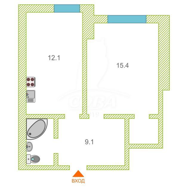 1 комнатная квартира  в районе Южный 2/ Чаплина, ул. Депутатская, 80/2, г. Тюмень