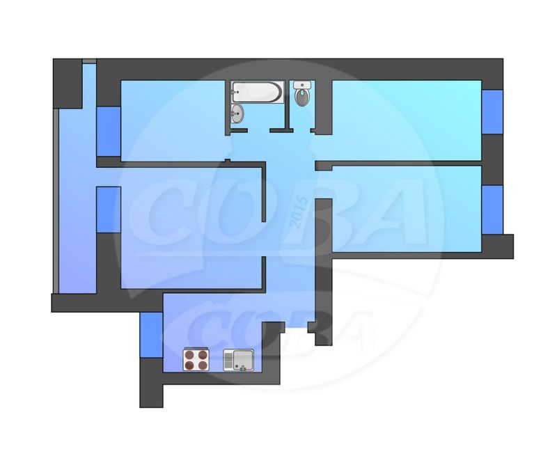 4 комнатная квартира  в Южном микрорайоне, ул. Федюнинского, 7, г. Тюмень