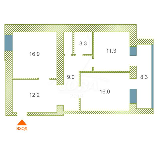 2 комнатная квартира  в районе Дом Обороны, ул. Свободы, 84/1, г. Тюмень