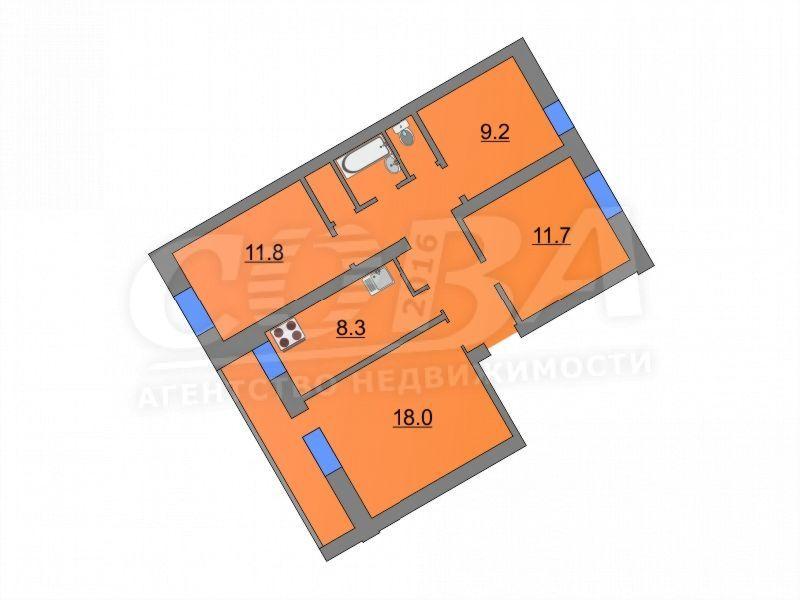 4 комнатная квартира  в районе Войновка, ул. Станционная, 16Б, г. Тюмень