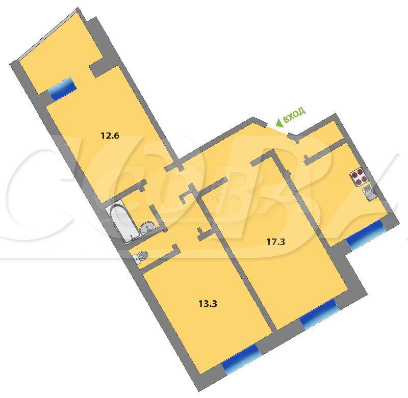 3 комнатная квартира  в Восточном мкрн., ул. Стахановцев, 6, г. Тюмень