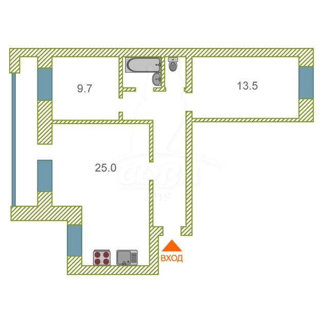 3 комнатная квартира  в районе Ватутина, ул. Дружбы, 163, г. Тюмень