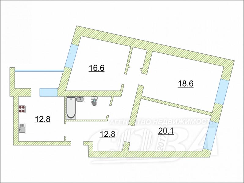 3 комнатная квартира  в районе Московского тр., ул. 9 Января, 164/1, г. Тюмень