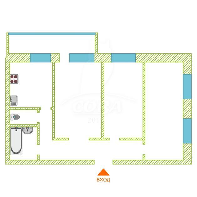 3 комнатная квартира  в Тюменском мкрн., ул. Станислава Карнацевича, 12, г. Тюмень