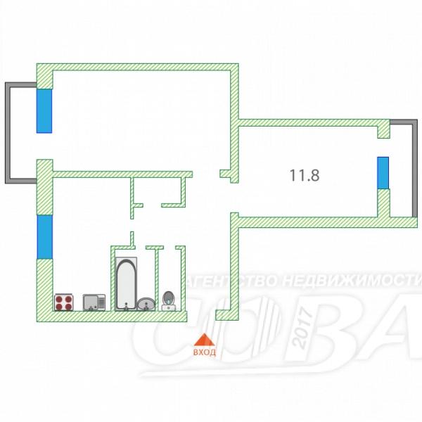 2 комнатная квартира  в районе Матмасы, ул. Пражская, 46, г. Тюмень