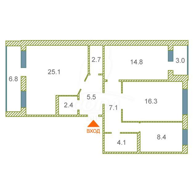 3 комнатная квартира  в районе Лесобаза (Тура), ул. Стартовая, 5, г. Тюмень
