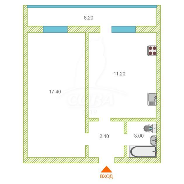 1 комнатная квартира  в районе ММС, ул. Голышева, 5, г. Тюмень