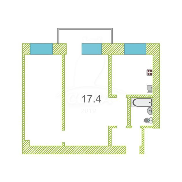 2 комнатная квартира  в районе Стрела, ул. Колхозная, 2, г. Тюмень
