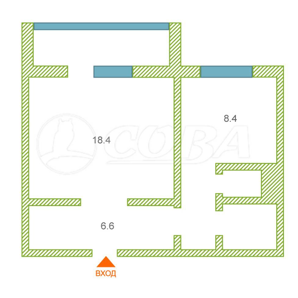 1 комнатная квартира  в районе Заозёрный, ул. 4-й микрорайон, 23, г. Курган