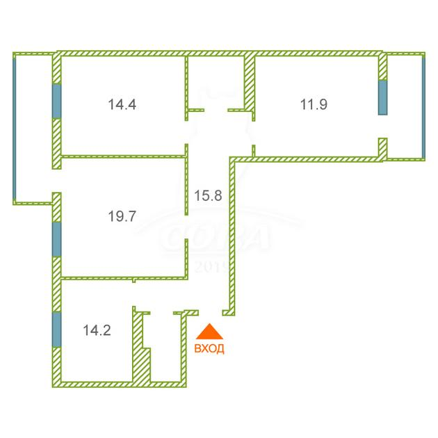 3 комнатная квартира  в районе Южный 2/ Чаплина, ул. Демьяна Бедного, 92, Жилой комплекс «Близнецы», г. Тюмень