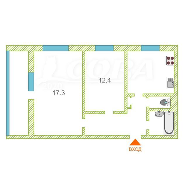 2 комнатная квартира  в районе Драмтеатра, ул. Механическая, 27, г. Тюмень