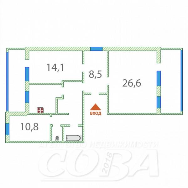 3 комнатная квартира  в Заречном 2 мкрн., ул. Газовиков, 17, г. Тюмень