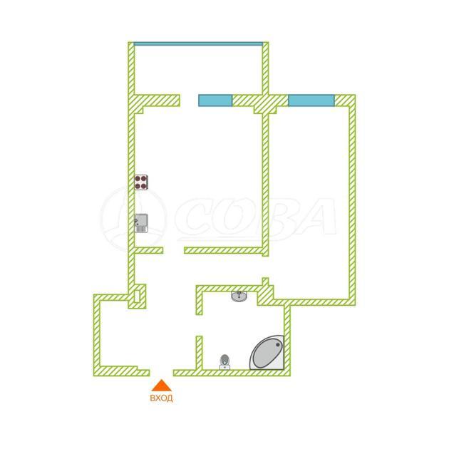 1 комнатная квартира  в Тюменском-3 мкрн., ул. Дмитрия Менделеева, 14, Жилой комплекс «на Менделеева», г. Тюмень