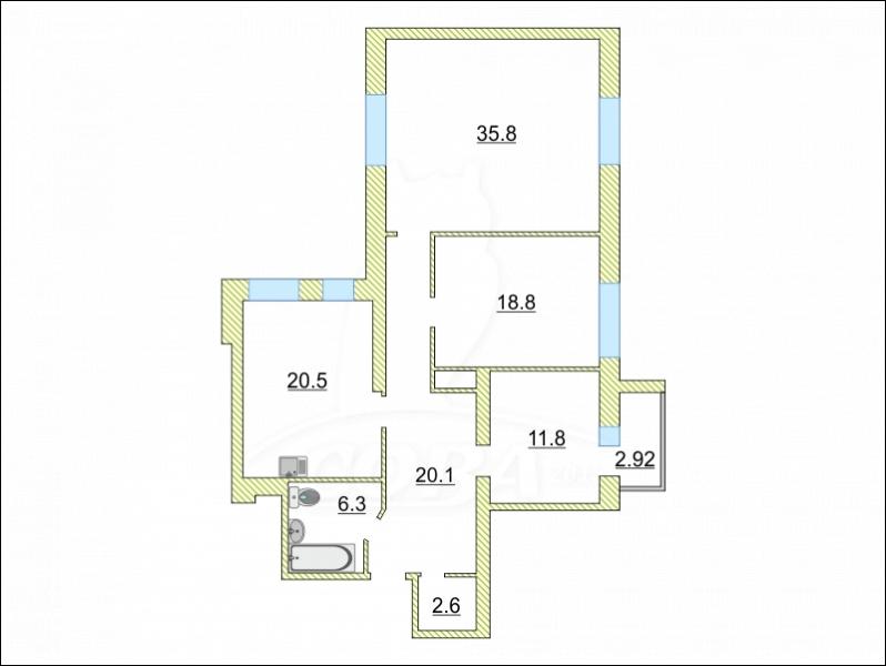 3 комнатная квартира  в районе Червишевского тр., ул. Червишевский тракт, 58, г. Тюмень