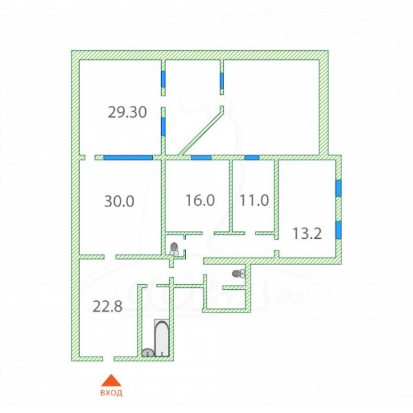4 комнатная квартира  в центре Тюмени, ул. 8 Марта, 2, ЖК «Цитадель», г. Тюмень