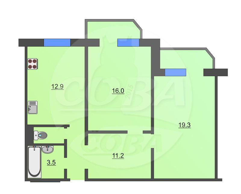 2 комнатная квартира  в районе Московского тр., ул. 9 Января, 162, г. Тюмень