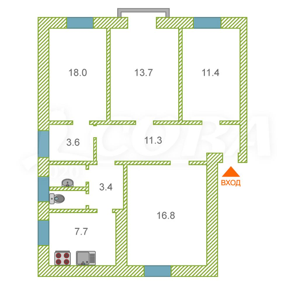 4 комнатная квартира  в районе Нижняя Светлана, ул. Лермонтова, 5, г. Сочи