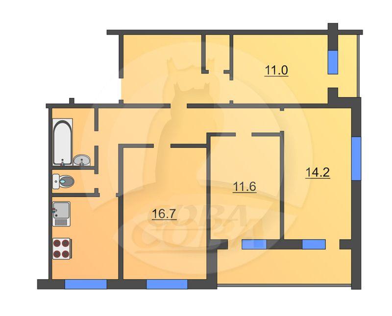 4 комнатная квартира  в Восточном мкрн., ул. 30 лет победы, 138, г. Тюмень