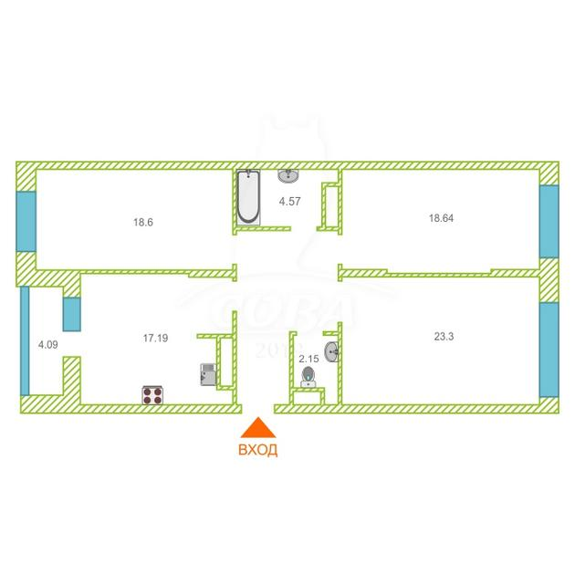 3 комнатная квартира  в районе Дома печати, ул. 50 лет Октября, 4, ЖК «Fifty-Fifty» /  «Фифти-Фифти», г. Тюмень