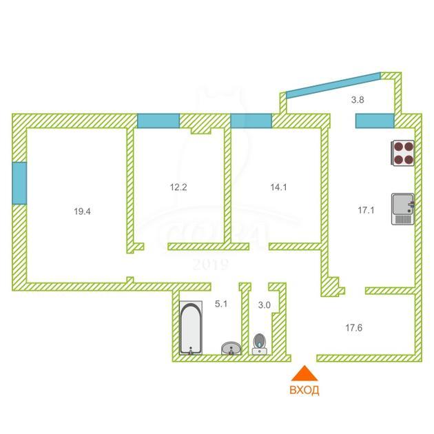 3 комнатная квартира  в Заречном 3 мкрн., ул. Заречный проезд, 39/1, Жилой комплекс «Ривьера», г. Тюмень