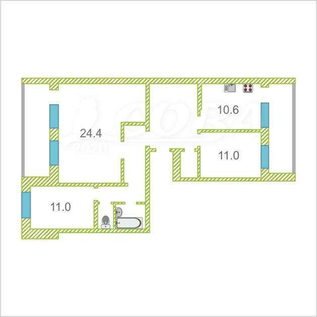 3 комнатная квартира  в Заречном 3 мкрн., ул. Заречный проезд, 37, г. Тюмень