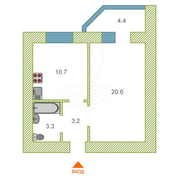 1 комнатная квартира  в районе Войновка, ул. Энергостроителей, 6/1, Жилой комплекс «Восточный», г. Тюмень