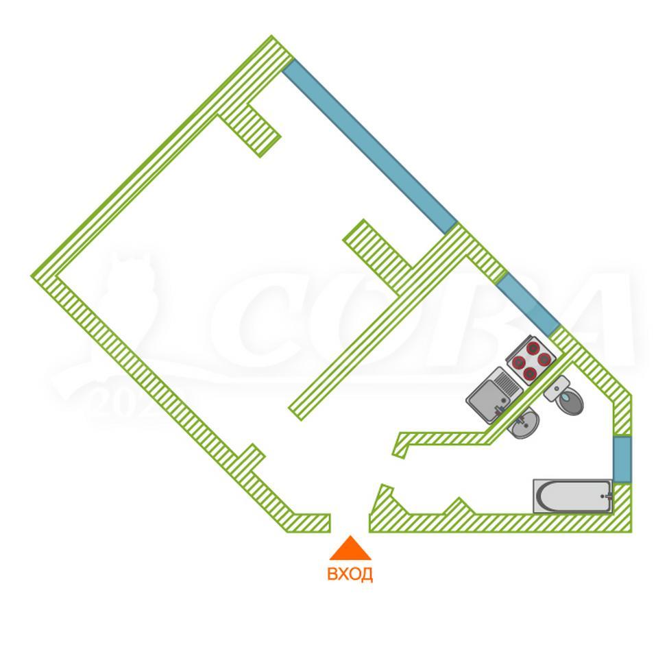 1 комнатная квартира  в 1 микрорайоне, ул. Олимпийская, 10, г. Тюмень