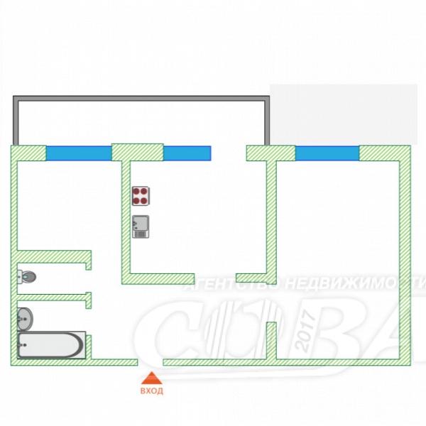 2 комнатная квартира  в районе Тараскуль, ул. Санаторная, 4, г. Тюмень