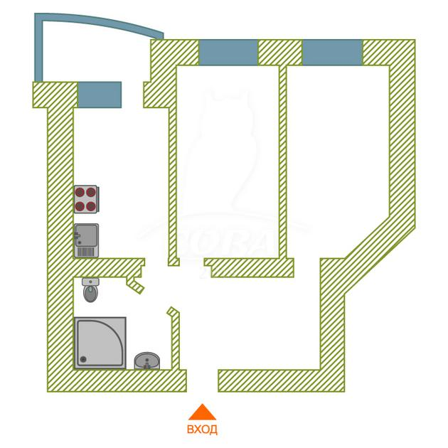 2 комнатная квартира  в 6 микрорайоне, ул. Мельникайте, 127А/1, г. Тюмень
