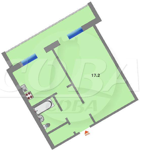 1 комнатная квартира  в районе Мыс, ул. Малиновского, 2, г. Тюмень