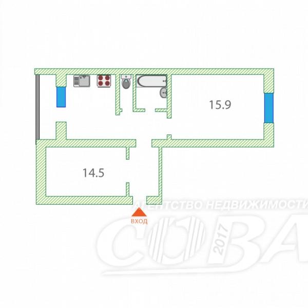 2 комнатная квартира  в районе Ватутина, ул. Ватутина, 18, г. Тюмень