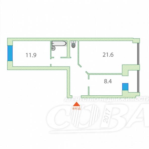 2 комнатная квартира  в районе Центральная часть, ул. Энергетиков, 13, п. Богандинский