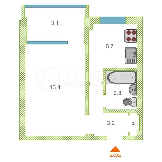 1 комнатная квартира  в районе Нижняя Светлана, ул. Учительская, 24, г. Сочи