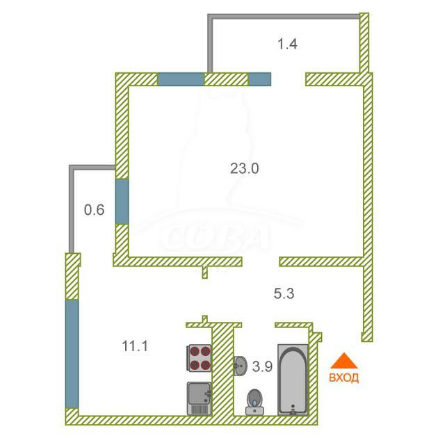 1 комнатная квартира  в районе Раздольное, ул. Тепличная, 96А, г. Сочи