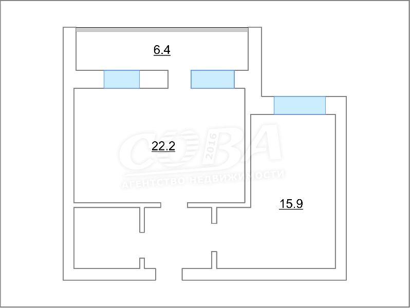 2 комнатная квартира  в Восточном 2 мкрн., ул. Широтная, 193/1, г. Тюмень