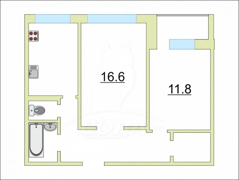 2 комнатная квартира  в районе Нагорный Тобольск, ул. 8-й микрорайон, 8А, г. Тобольск
