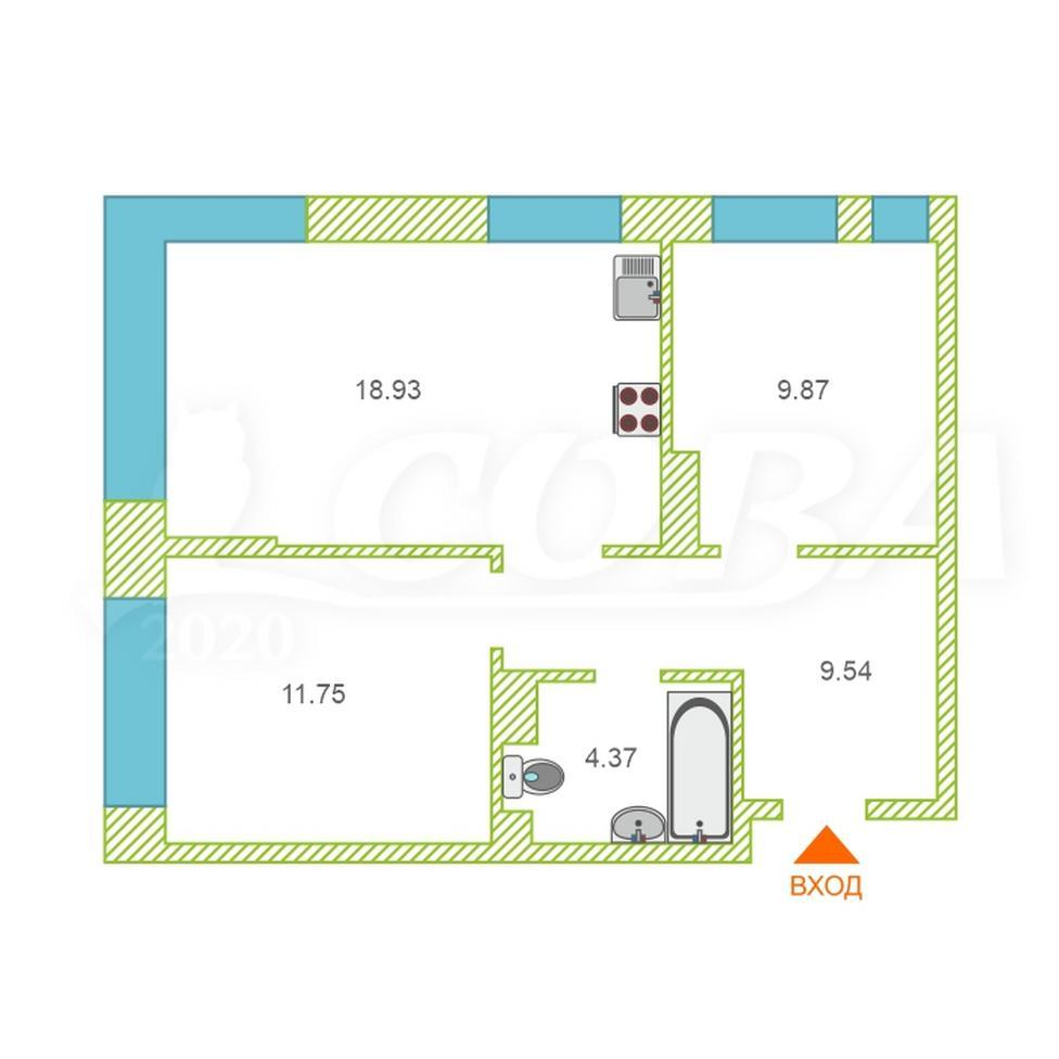 2 комнатная квартира  в Европейском мкрн., ул. Газовиков, 73/1, ЖК «Европейский берег», г. Тюмень