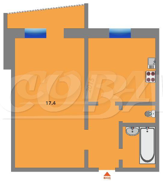 1 комнатная квартира  в районе Лесобаза (Тура), ул. Домостроителей, 18, г. Тюмень