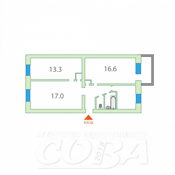 3 комнатная квартира  в районе Воровского, ул. Воровского, 23, г. Тюмень