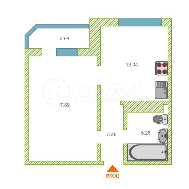 1 комнатная квартира  в районе Ожогина / Патрушева, ул. Константина Посьета, 7, ЖК «Ново-Патрушево», г. Тюмень