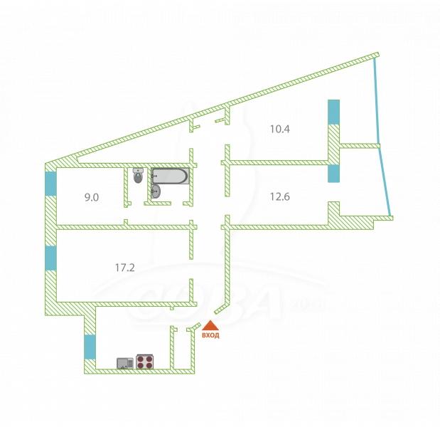 4 комнатная квартира  в Заречном 2 мкрн., ул. Заречный проезд, 2, г. Тюмень