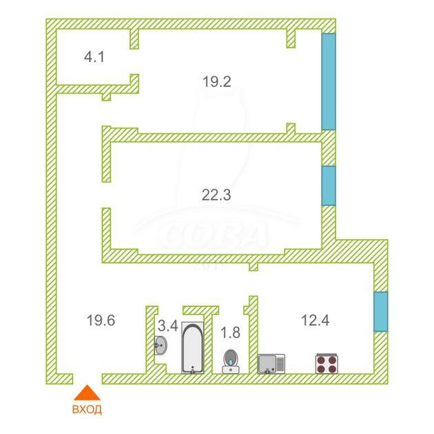 2 комнатная квартира  в Заречном мкрн., ул. Муравленко, 13, г. Тюмень