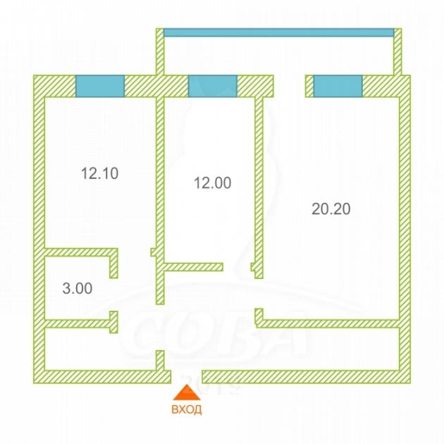 2 комнатная квартира  в районе Войновка, ул. Малая Боровская, 38, г. Тюмень