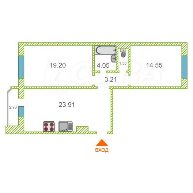 2 комнатная квартира  в районе Тюменская Слобода, ул. Созидателей, 1, ЖК «Комарово», д. Дударева