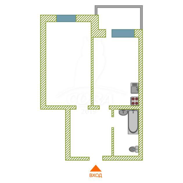 1 комнатная квартира  в Тюменском-2 мкрн., ул. Суходольская, 16, г. Тюмень
