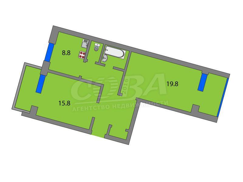 2 комнатная квартира  в районе Дома печати, ул. Советская, 88, г. Тюмень