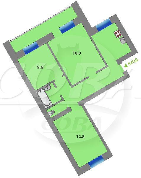 3 комнатная квартира  в районе Войновка, ул. Станционная, 38Б, г. Тюмень