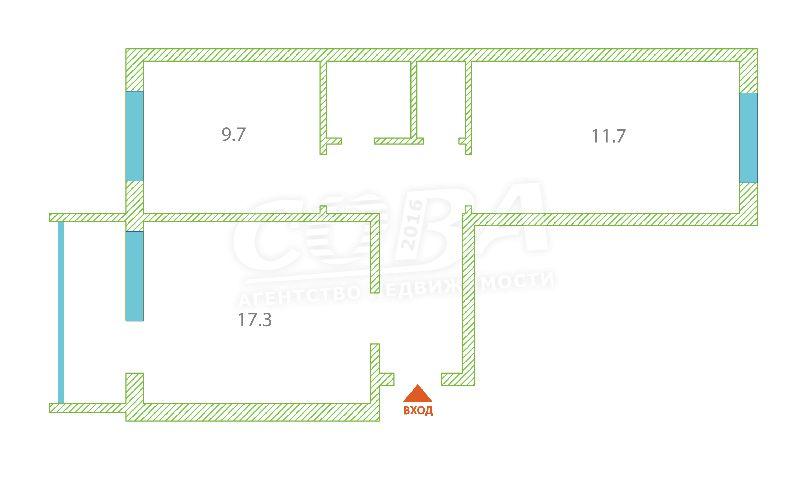 2 комнатная квартира  в районе Тарманы, ул. Блюхера, 2, г. Тюмень