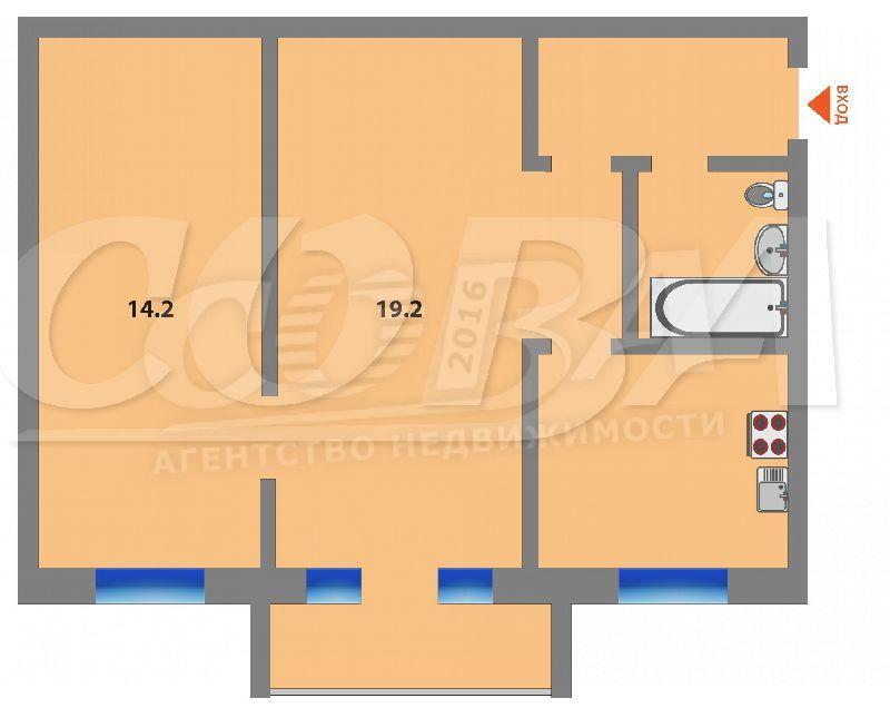 2 комнатная квартира  в районе КПД (Геологоразведчиков), ул. проезд Геологоразведчиков, 40, г. Тюмень